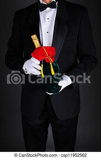 väska, champagne, gåva