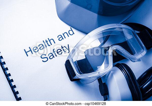 védőszemüveg, sisak, jegyzék, fülhallgató - csp10469128