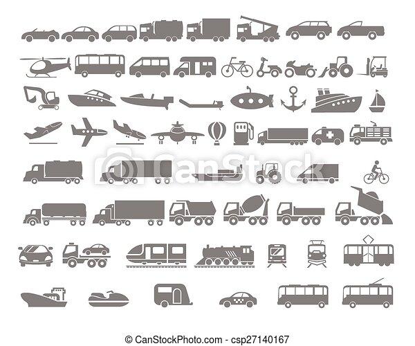 véhicule, transport, ensemble, icône, plat - csp27140167