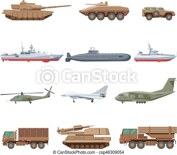 V hicules militaires ensemble sous marin ensemble v hicules isol illustration air - Dessin vehicule militaire ...