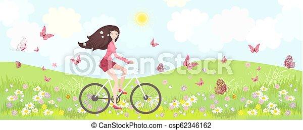 vélo, panorama, floral, équitation, girl, heureux - csp62346162