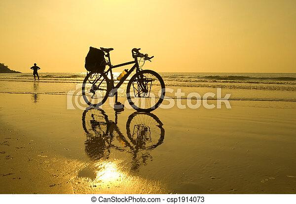 vélo, pause, plage - csp1914073