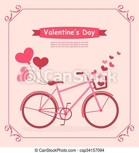 Velo Romantique Anniversaire Cœurs Ballons Carte Rose Entiers Velo Romantique Anniversaire Couleurs Vecteur Canstock