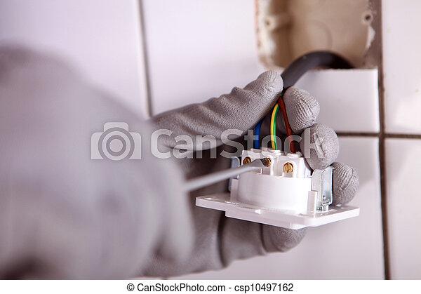 vérification, électricien, câblage - csp10497162