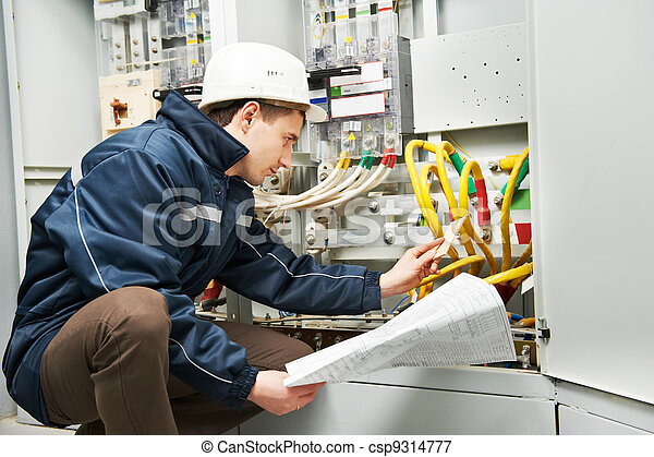vérification, câblage, ligne, électricien, puissance - csp9314777