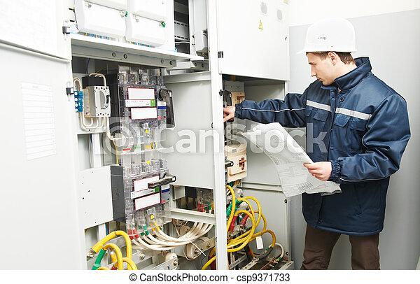 vérification, câblage, ligne, électricien, puissance - csp9371733