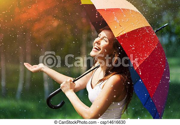 vérification, femme, parapluie, rire, pluie - csp14616630