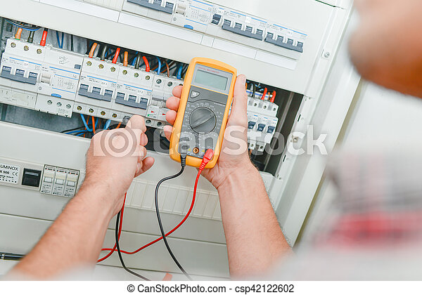vérification, fusebox, électricien - csp42122602