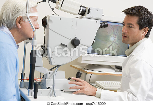 vérification, malade, yeux, docteur - csp7415009