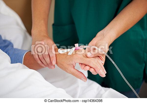vérification, malades, femme, pouls, docteur - csp14364398