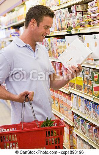 vérification, nourriture, homme, supermarché, étiquetage - csp1890196