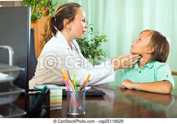 vérification, thyroïde, adolescent, docteur - csp25116629