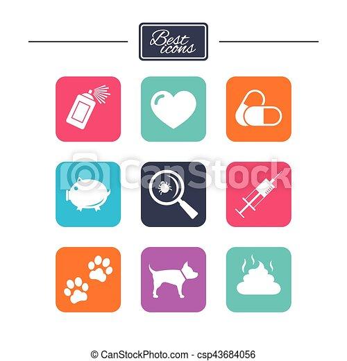 vétérinaire, chien, icons., pattes, animaux familiers, seringue, signs. - csp43684056
