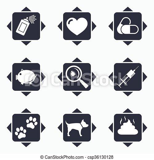 vétérinaire, chien, icons., pattes, animaux familiers, seringue, signs. - csp36130128