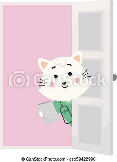 vétérinaire, porte, doc., illustration, chat, rendez-vous - csp59428990