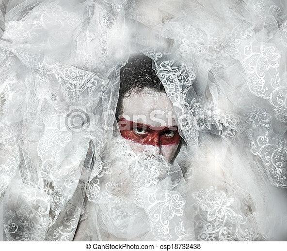 véu, renda, maquilagem, máscara, mistério, coberto, branco vermelho, homem - csp18732438