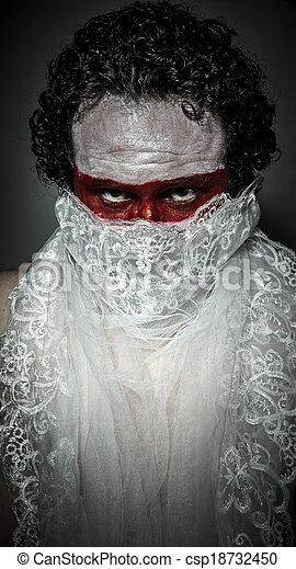 véu, renda, maquilagem, máscara, coberto, branco vermelho, homem - csp18732450