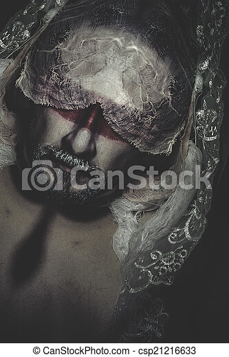 véu, renda, pesadelos, mistério, branca, homem - csp21216633