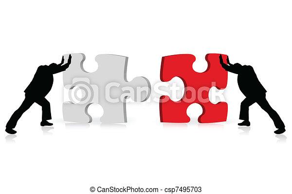 El concepto empresarial del éxito ilustrado a través de la unión de rompecabezas - csp7495703