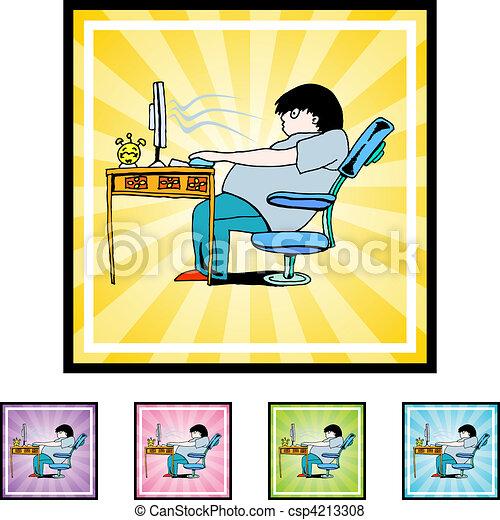 vício, computador - csp4213308