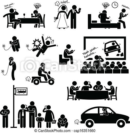vício, smartphone, obsessão, homem - csp16351660