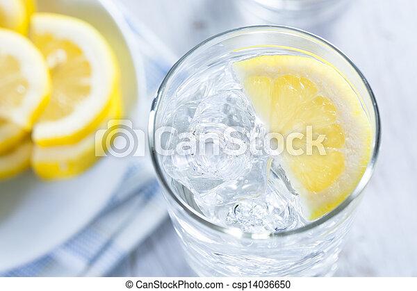 víz, hideg, citrom, felfrissítő, jég - csp14036650