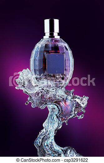 víz, loccsanás, palack, illatszer - csp3291622