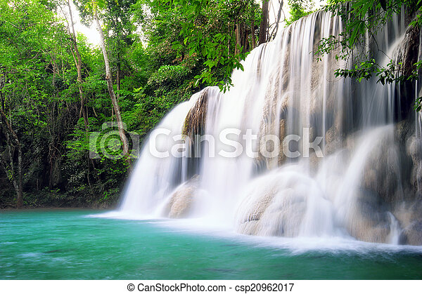 vízesés, erdő, thaiföld, tropikus - csp20962017