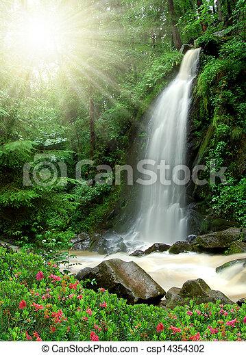vízesés, gyönyörű - csp14354302
