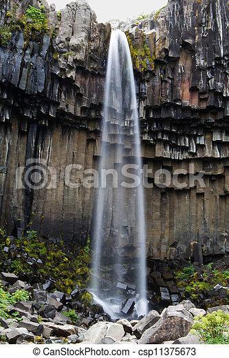 vízesés, izland, svartifoss - csp11375673