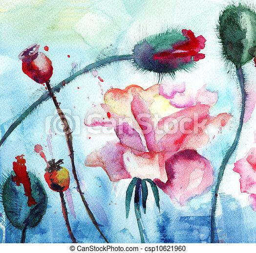vízfestmény, menstruáció, mák, festmény, agancsrózsák - csp10621960