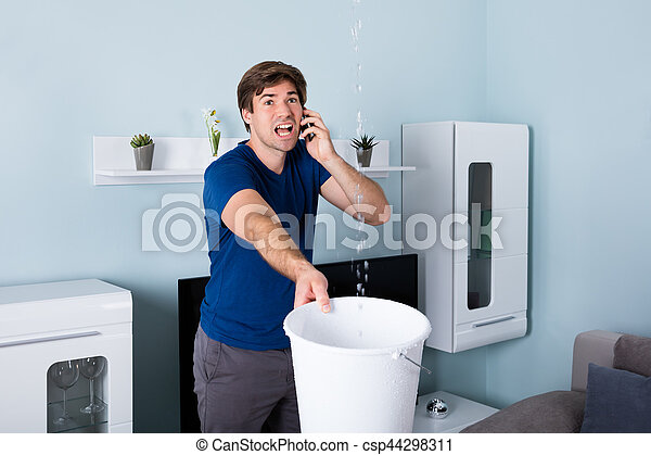 vízvezeték szerelő, ember, hívás - csp44298311