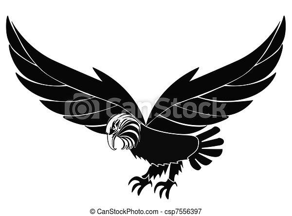 vögel, adler, isoliert, silhouette, weißes - csp7556397