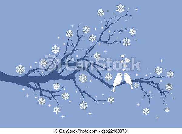 Weihnachtsvögel auf dem Winterbaum - csp22488376