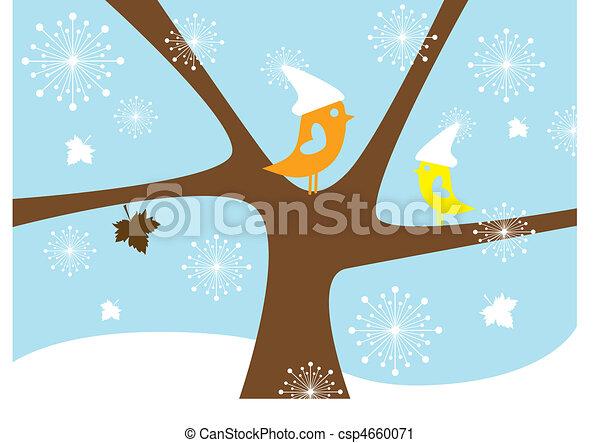 vögel, vektor, winter - csp4660071
