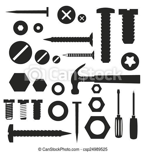 výzbroj, eps10, drápy, symbol, vrtula, otesat dlátem - csp24989525