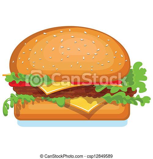 v, ハンバーガー, 隔離された, アイコン, white. - csp12849589