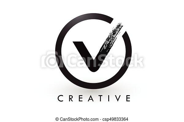 V Brush Letter Logo Design Creative Brushed Letters Icon Logo V