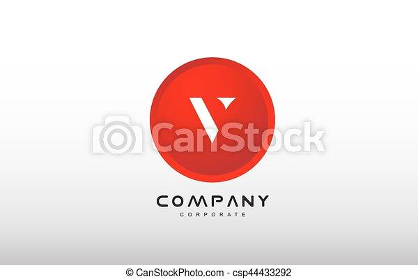 V Letter Alphabet Red Circle Dot Logo Vector Design V Eps