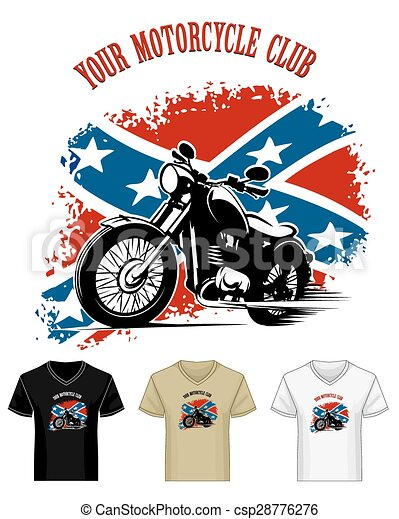 V neck Shirt Template with Bikers Club Emblem - csp28776276