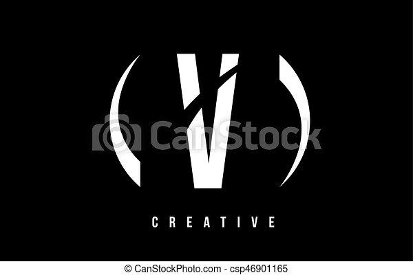 V White Letter Logo Design With Black Background V White Letter