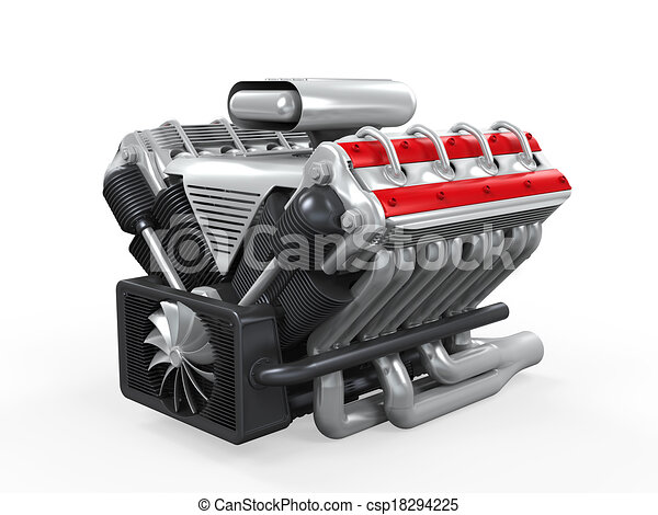 v8 car engine isolated on white background 3d render rh canstockphoto com engine clip art free engine parts clipart