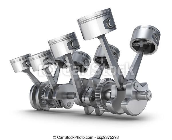 V8, motor, motorkolben. V8, motor, pistons., image., 3d.