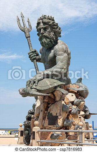 va, óriási, király, neptun-bolygó, szobor, tengerpart - csp7816983