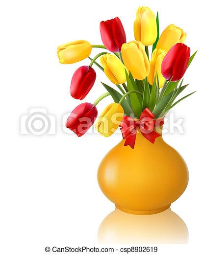 vaas, lentebloemen - csp8902619