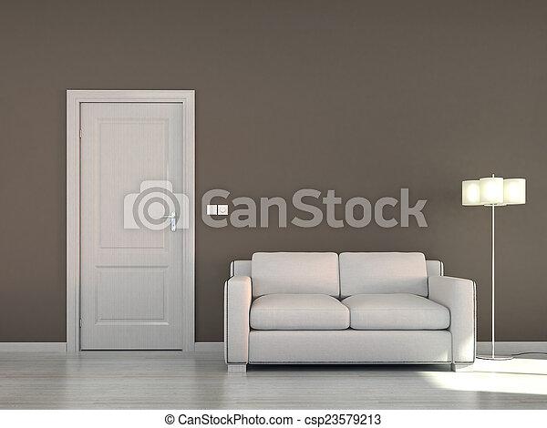 Escena interior vacía con sofá y - csp23579213