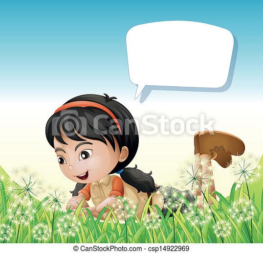 Una chica arriba de las colinas con una llamada vacía - csp14922969