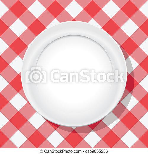 Un mantel rojo Vector y un plato vacío - csp9055256