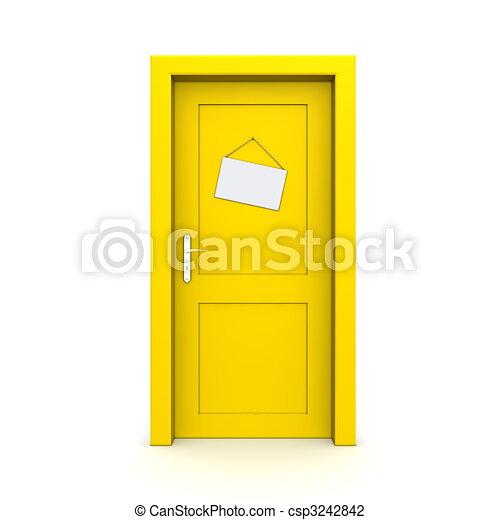 Puerta amarilla cerrada con señal de puerta falsa - csp3242842