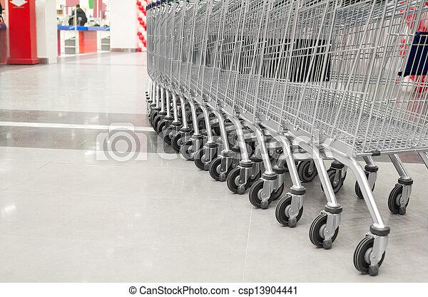vacío, supermercado, carrito, fila - csp13904441